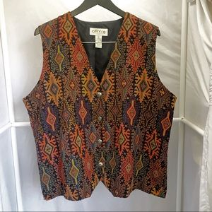 EUC Orvis Southwest Aztec Tapestry Vest Sz XL